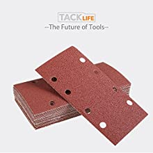 TACKLIFE 25Pcs Sandpaper, Sanding Paper Hook Loop Sand Sheet 93x185mm Punched 8 Holes Grits 40/60/80/120 Fit Sheet Orbital Sander Multi-Sander Aluminum Oxide Grain - ASD05C