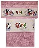Set Spugna BING Coppia 2 Pezzi 1+1 Ospite 30 x 50 + Asciugamano 55 x 100 Bassetti Spugna Di Puro Cotone ASILO SCUOLA MATERNA (Bing rosa)