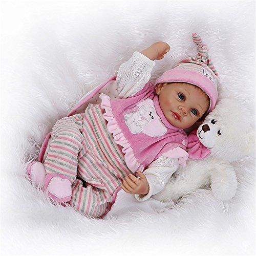 Lebensecht Reborn Baby Doll Puppen WiederGeboren Babypuppen Silikon Mädchen Magnetischer Mund Toddler Babies 22 Zoll 55 cm Kinder Spielzeug