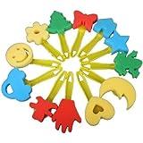TOOGOO(R) 12 uds. Coloridos Diferentes Formas Artesania y Pintura sello de esponja