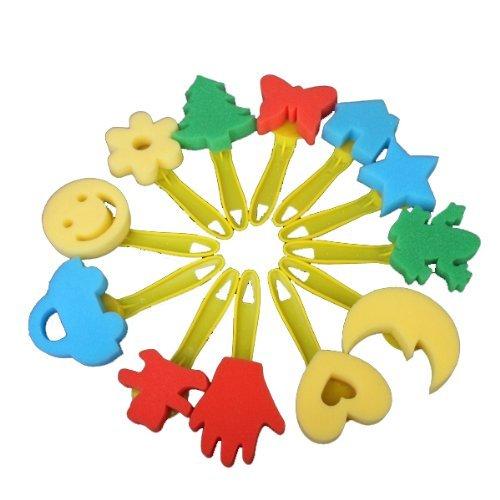 toogoor-12-pcs-colore-differentes-formes-enfants-peinture-artisanat-eponge-cachet