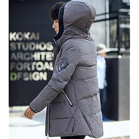 Con capucha del invierno de tendencia 0f manera ocasional de la chaqueta acolchada chaqueta larga de Down , silver ,