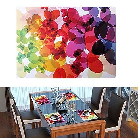 Platzsets, danibos Set von 4 Einzigartiges Design Kunst Malerei Wasserdicht Waschbar Kunststoff Vinyl Tisch MATS (400 * 29) bunt