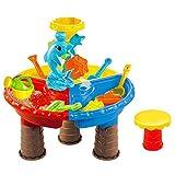 TETAKE Sandspielzeug Junge Mädchen 22 Stücke Strandspielzeug Kinder Spieltisch Sandkastentisch Strand Wasser Spiel Sandkasten Wasserspielzeug Zubehör Badespielzeug Geschenk für Baby 2+ Jahr