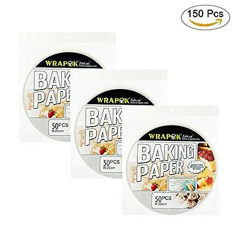 Wrapok 10 Pouces Parchemin Rond Perforé Vapeur de bambou Lingettes en papier 150 Count Anti-adhérent pour Air Frying Baking Papier Cuisson à la vapeur Cake de cuisine Cercle de pans