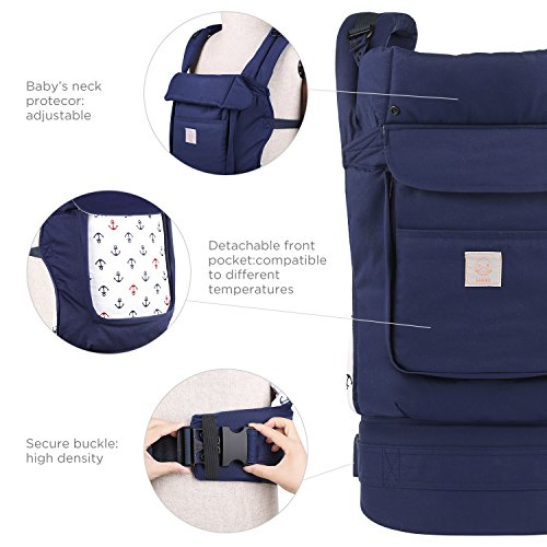 GAGAKU Ergonomic Baby Carrier with Detachable Hood Soft Cotton Child Carriers 3 Carrying Positions - Blue  Brandworl