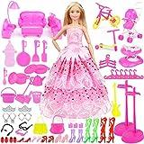 Bheddi Set di Accessori e Abbigliamento per Bambola di Moda, Totale 109 Pezzi (1 Abito Rosa Principessa + 108 Accessori), Abito Regalo Adatto a Bambole da 11 Pollici per Compleanno Ragazza