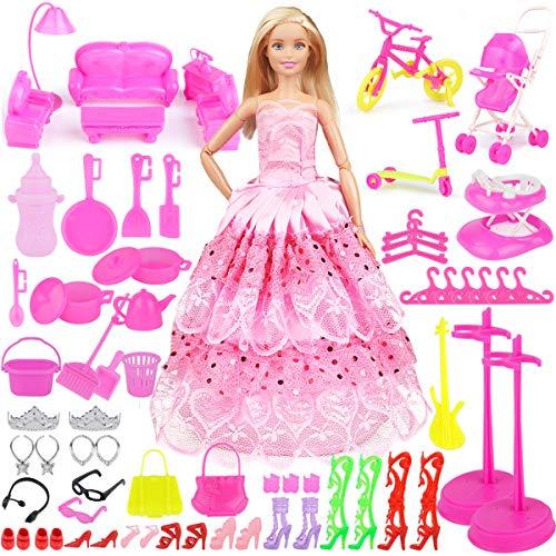 Bheddi Modepuppen Kleidung Zubehör Set 109 Stücke(1 Großes Kleid +108 Zubehör), Puppenkleidung Bekleidung, Schuhe and Zubehör für 11 Zoll Modepuppen - Ken Barbie-party