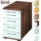 BÜMÖ® Bürocontainer mit 5 Schüben & Schloss   Standcontainer aus Holz abschließbar   Container für Büro   Tischcontainer in 6 Dekoren (Zwetschge/Weiß)