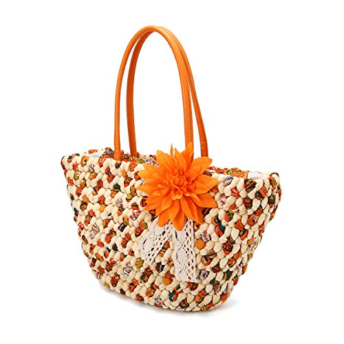Frau Stroh Tragetasche, JOSEKO Sommer Strand Tasche mit Innere Tasche Blume Tasche Schulter Tasche für Damen Orange -