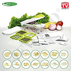 Dicer Express multifunctional vegetable and fruit cutter, 16-piece set with finger protection, all-cutter, rubbing, fine rubbing, planing, dicing, julienne strip device - original from TV advertising