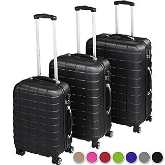 TecTake Set 3 piezas maletas ABS juego de maletas de viaje trolley maleta dura | 4 ruedas de 360º | 2 mangos y un asa telescópica – disponible en diferentes colores