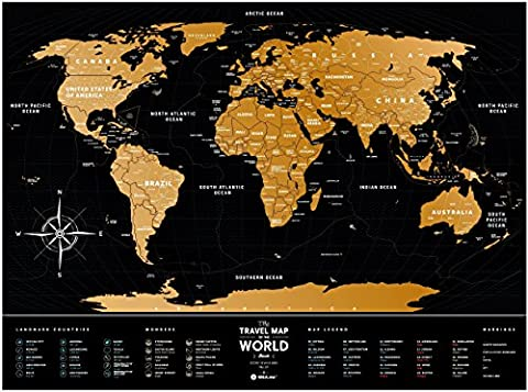 Black Scratch Places Off World Poster - Large Places I've Been World Travel Map - Great World Map Gift For Any Traveller - Made From Flexible Plastic to Last Longer - Gift by 1DEA.me