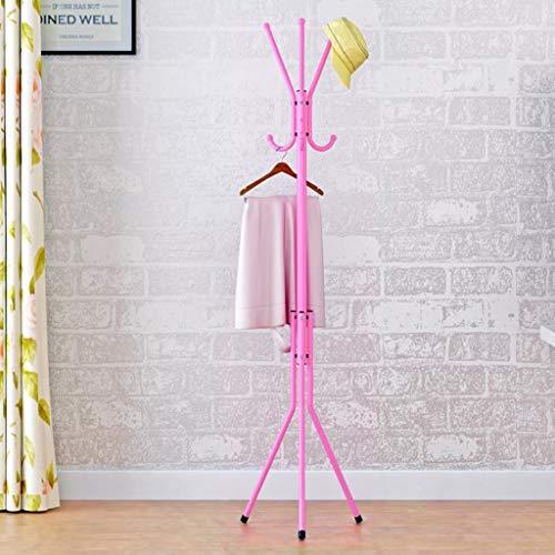 KY Garderobenständer Kleiderstange Stehende Garderobenständer aus Metall mit 6 Haken, Hutablagen Haken Freistehend für Foyer Büro-Schlafzimmer-Schrank (Color : Pink)