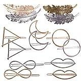 14pcs Pinces Barretes Épingles à Cheveux en Métal Forme Feuille Plume Cercle Triangle Infini Lèvres Accessoire Cheveux pour Femmes Filles