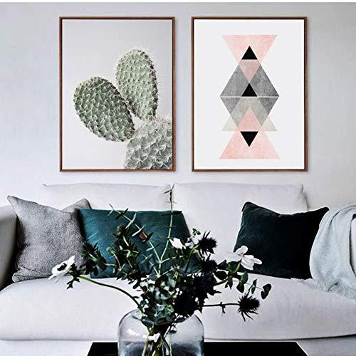 JJHR Bild Auf Leinwand Canvas Printsfrische Kakteen & Geometrische Poster Wandkunst Leinwand Malerei Modernen Minimalismus Print Wohnzimmer Dekoration