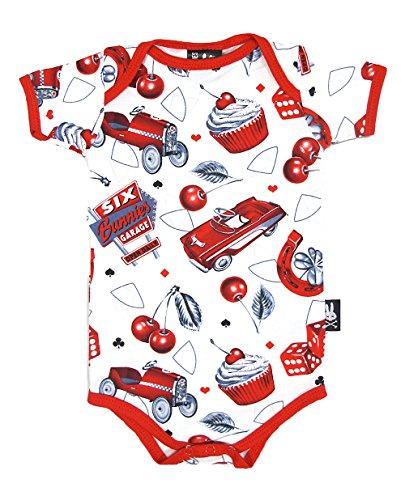 Six Bunnies Unisex Baby Body Cherry Garage Rockabilly Strampler, Farbe:Weiss, Kindergrößen:12-18 Monate