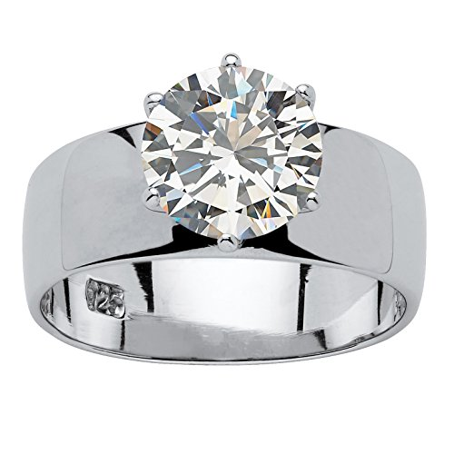 cf7caa84ca80 Palm Beach Jewelry - Anillo solitario - Plata de ley - Circonita cúbica  talla redonda -