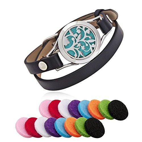 Acciaio inossidabile diffusore di oli essenziali aromaterapia medaglione bracciali pelle Band con 8 pastiglie di colore donna gioielli regalo set