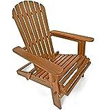 Deuba® Sonnenstuhl Adirondack | Akazienholz klappbar abgerundete Armlehnen | Deckchair Liegestuhl Holzstuhl Gartenstuhl