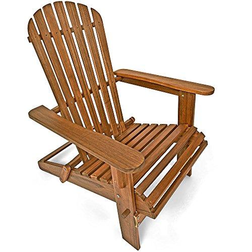 Deuba® Sonnenstuhl Adirondack | Akazienholz klappbar abgerundete Armlehnen | Deckchair Liegestuhl Holzstuhl Gartenstuhl - Adirondack Liegestuhl