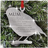 Remembrance Christmas Tree Decoration Personalise With A Name - Mirror Acrylic Bauble Ornament - Loved Ones Keepsake Gift ROBIN ANGEL HEART
