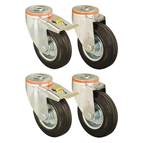 Set of 4 - 100mm Rubber Wheel Castors Hole Fitting Casters Heavy Duty Test
