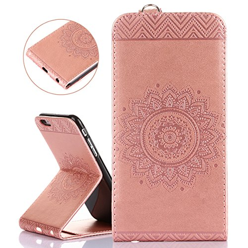 Custodia per Apple iPhone 6 Plus, ISAKEN iPhone 6S Plus Flip Cover, 5.5 inch Custodia con Strap, Elegante Sbalzato Embossed Design in Pelle Sintetica Ecopelle PU Case Cover Protettiva Flip Portafoglio Rose gold