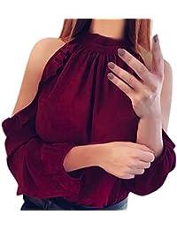 4f5c27dfe2bdae Longra Damen Elegante Party Oberteile Damen Festliche Schulterfrei Bluse  Shirt Solide Rüschen Volle Hülse Rüschenkragen T