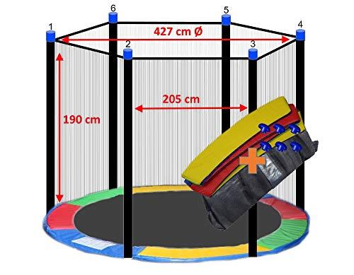 awshop24 Trampolin Randabdeckung Bunt + Sicherheitsnetz 6 Stangen 427-430 cm Ø