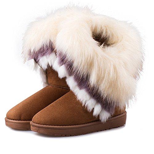 BAINASIQI Damen Winter Stiefel Warme Pelz Gefüttert Schnee Stiefel Tassel Schlupfstiefel Flach Boots Baumwolle Winterschuhe (EU 40, Braun) (Gefüttert Stiefel Pelz)