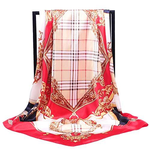 SAFZES Schal Klassische Mode Plaid Bogen Satin Schal Weibliche 90 cm Platz Schal 90-90 Cm1# -