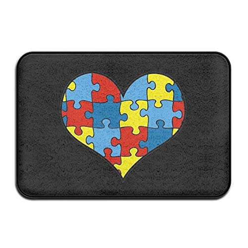 Autism Awareness HeartFußabtreter Entrance Mat Floor Mat Rug Indoor/Outdoor/Front Door/Bathroom Mats Rubber Non Slip (Raben-fußmatten)