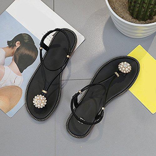 Fleurs décoration strass sandales flip doux flip flops pantoufles plat été nounou sandales enfants sandales à bride en T Flats Flip Thong pantoufles de plage d'été flops Bohême chaussures plates Noir