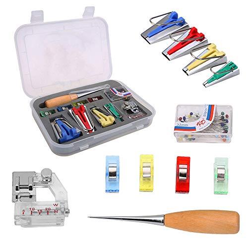 Schrägband-Maker-Set, 6 mm, 12 mm, 18 mm, 25 mm Nähahle, Perlennadeln, verstellbare Binder-Clip, Fußpresse, Holz-Asche, DIY-Werkzeuge mit Tasche zum Nähen und Quilten -