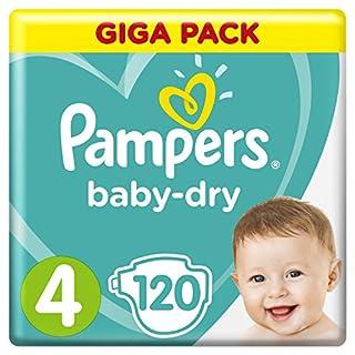 Pampers Baby-Dry Windeln Größe4 (9-14kg), Luftkanäle für atmungsaktive Trockenheit die ganze Nacht, Giga Pack, 1er Pack (1 x 120 Stück)