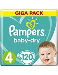 Pampers Baby-Dry Windeln, Größe 4 Maxi (9-14 kg), Giga Pack, 1er Pack (1 x 120 Stück)