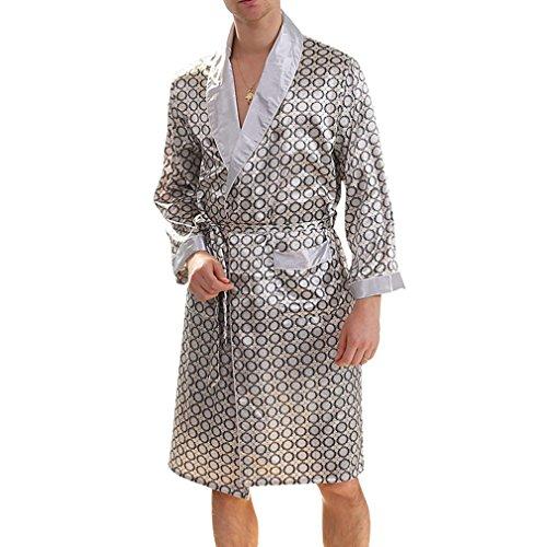 Juleya Premium Männer Seide Bademantel Knielangen Morgenmantel Sommer Dünne Pyjamas Langärmelige Nachtwäsche Ligh Weight Elegant