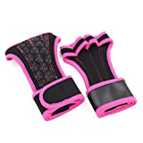 Men Women Weight Lifting Training Fitness Workout Gym Sports Half Finger Gloves (Pink, L)