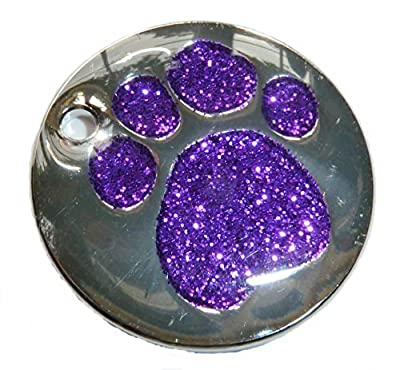 Personalised Engraved 25mm Glitter Paw Print Dog Pet ID Tag Disc.TO LEAVE ENGRAVING DETAILS PLEASE READ PRODUCT DESCRIPTION LOWER DOWN THIS PAGE. by County Engraving