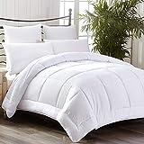 White Down Alternative Comforter Queen Size Microfiber Duvet Insert, Hypoallergenic, Reversible Quilted, All-Season