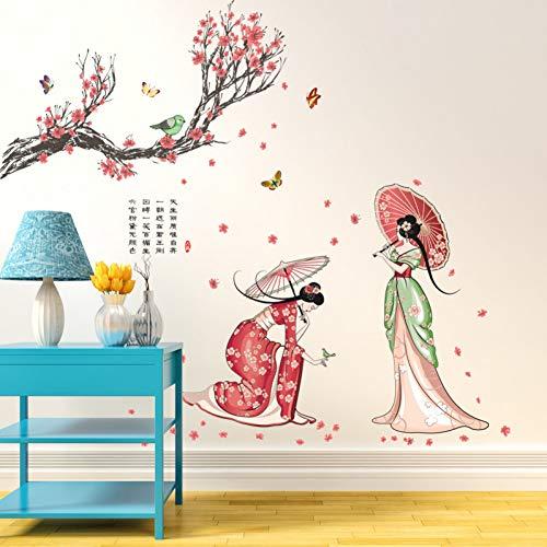 MWLSW Wandaufkleber kostüm schönheit Menschen wandaufkleber Kunst Aufkleber Blume Baum Dame Figur Schmetterling - Tv Figur Kostüm Einfach