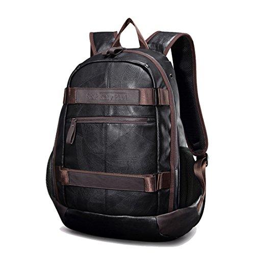 Imagen de maod hombre negocios  portátiles estilo retro  escolares cuero bolsa de escuela impermeable laptop backpack 15 marrón15  alternativa
