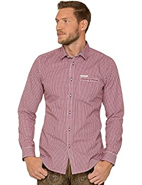 Trachtenhemd Langarm Modern Fit Dave4 Rot