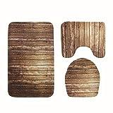 AISSION Bathroom Badematten/Teppiche/Matten,Classic 3-tlg Badezimmer Teppich Sets Holz gestreiften Microfaser Rutschfeste wc Matte, Badematte + Sockel Mat + WC Sitz Deckel Matte, EIN