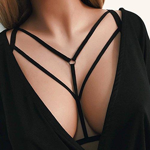 WINWINTOM Frauen reizvoller Damen Halter elastischer Käfig reizvoller Strappy Büstenhalter Bustier (XL)