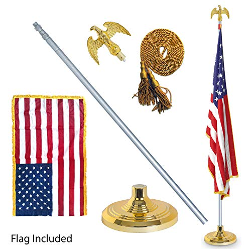 EasyGoProducts 3' X 5' American Flag w/Telescoping Indoor Flag Pole Kit  w/Base Stand and Gold American Eagle Topper - Deluxe Formal Version