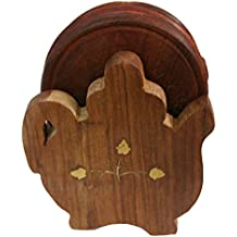 BKDT Marketing Wooden Handicraft Hand Made Coaster set with Kettle Shape Stand, Set of Six, Brown Color