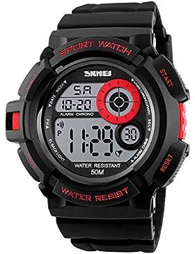 rot Berg Männer Digitaluhr stoßfeste Sportuhr 50m wasserdichte Uhr für Jungen