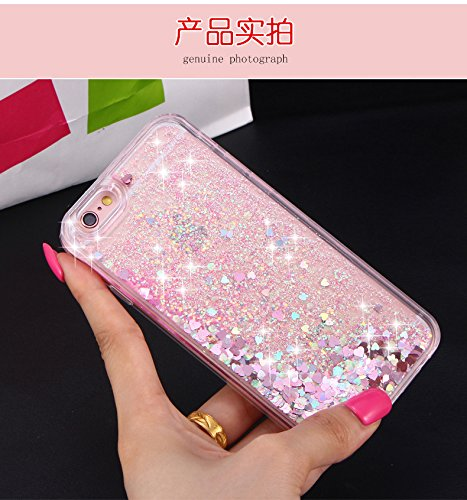 Bling Coque pour iPhone 6 6S, Sunroyal® Liquide Flux Transparent Case pour iPhone 6/6s Etui Housse Sparkle Paillette Cristal Case Cas Hard Plastique Fluide Liquide Dur Plastic Back Cover de Protection Bling-02